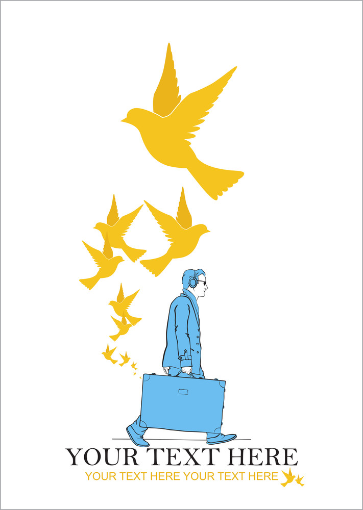 Abstract Vector Illustration Of Men With Travel Bag And Birds.