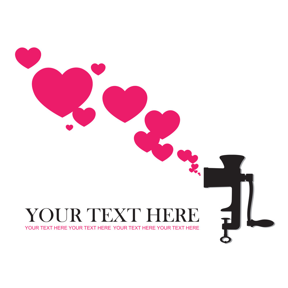 Abstract Vector Illustration Of Old Meat-grinder And Hearts.