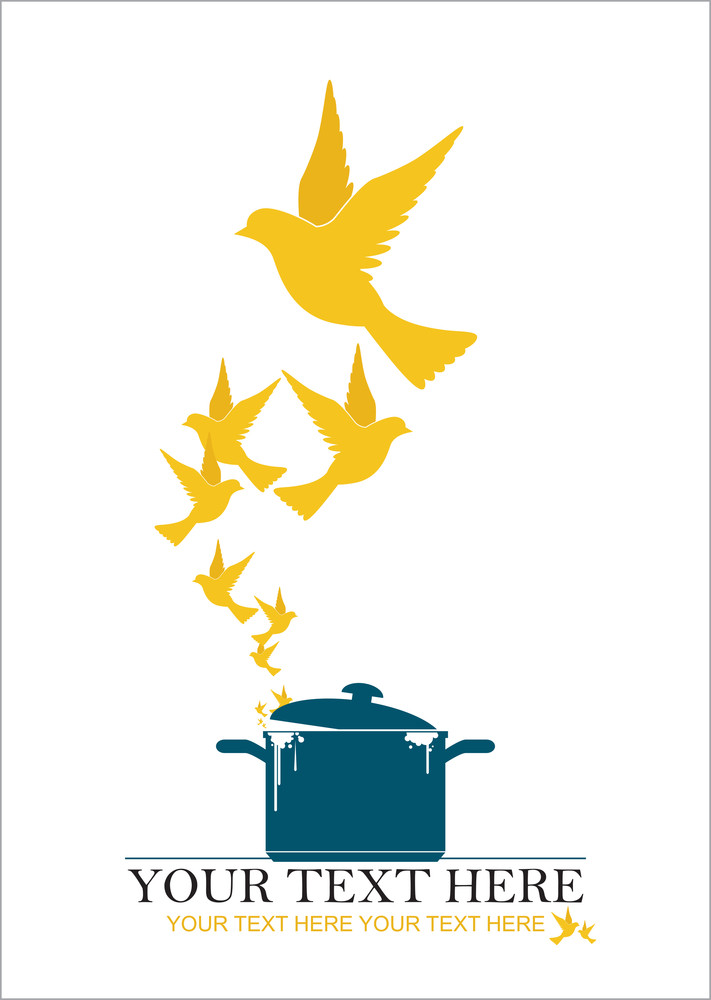 Abstract Vector Illustration Of Pan  And Birds.