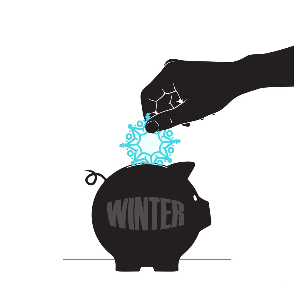Abstract Vector Illustration Of Piggy Bank And Snowflake.