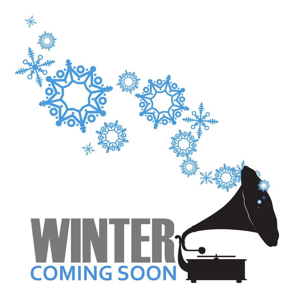 Abstract Vector Illustration Of Retro Gramophone  And Snowflakes.