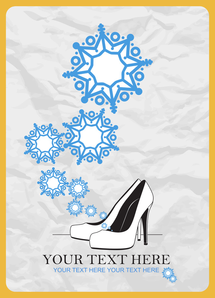 Abstract Vector Illustration Of Shoes And Snowflakes.