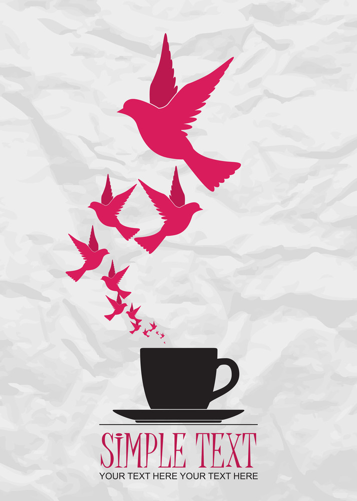 Abstract Vector Illustration Of Tea Cup And Birds.