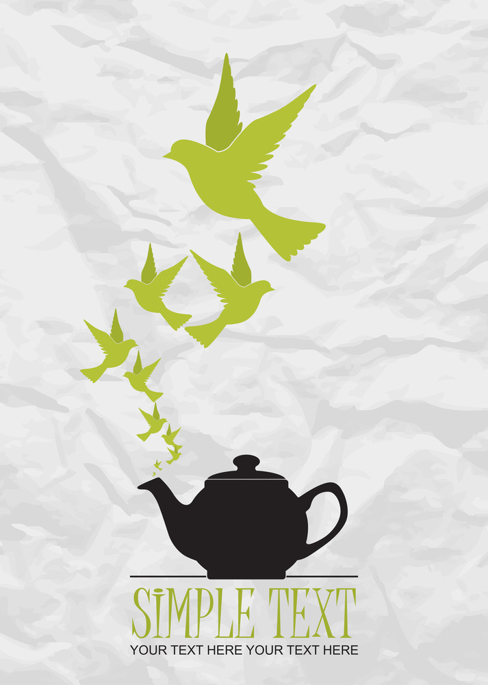 Abstract Vector Illustration Of Teapot And Birds.