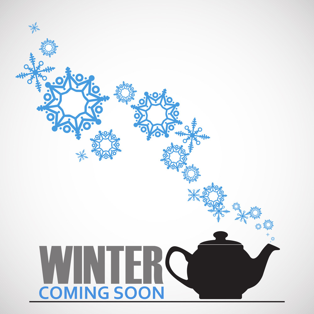 Abstract Vector Illustration Of Teapot And Snowflakes.