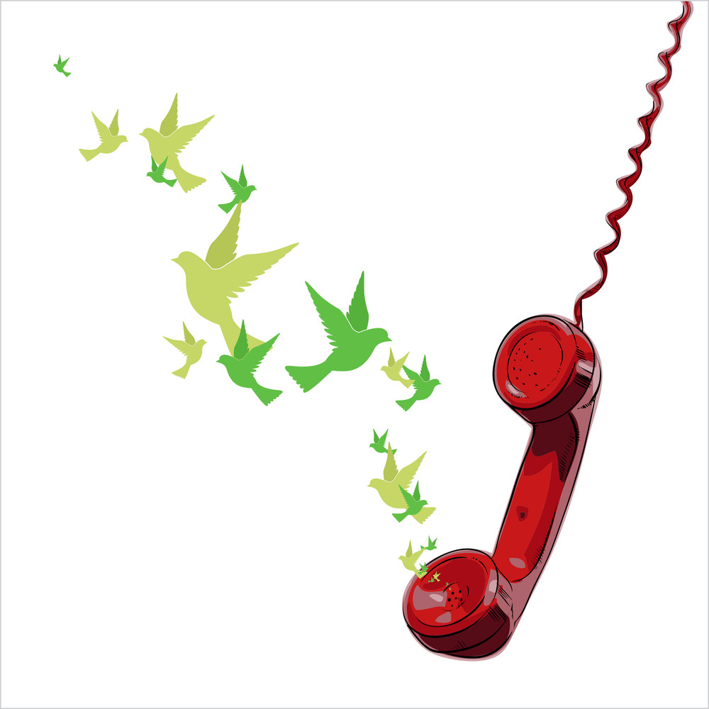 Abstract Vector Illustration Of Telephone And Birds.