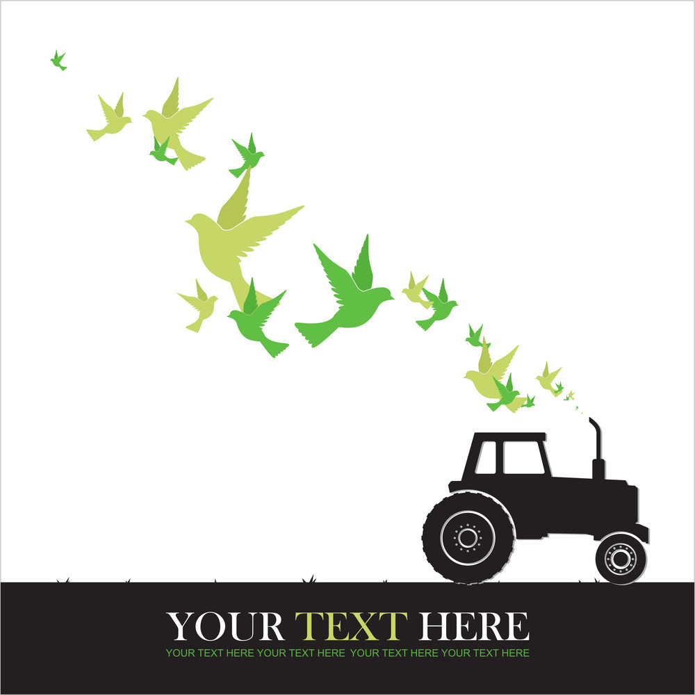 Abstract Vector Illustration Of Tractor And Birds.