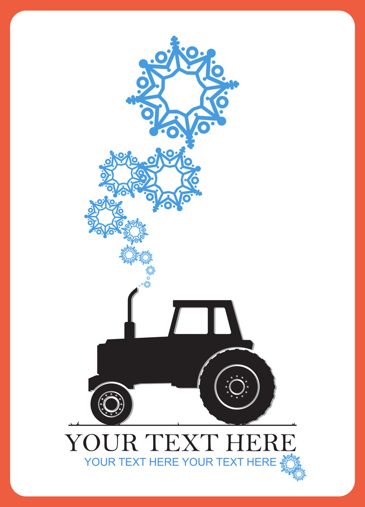 Abstract Vector Illustration Of Tractor And Snowflakes.