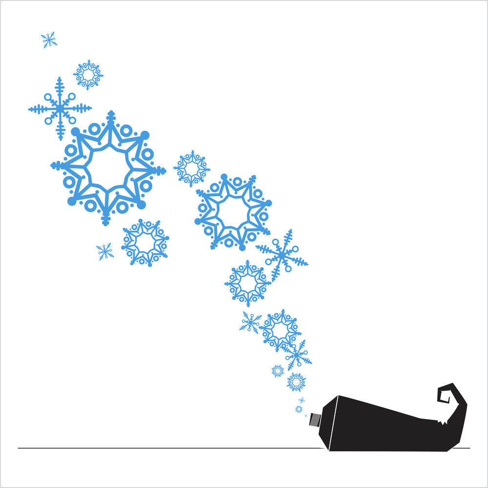 Abstract Vector Illustration Of Tube  And Snowflakes.