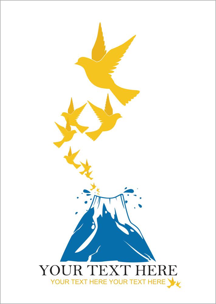 Abstract Vector Illustration Of Volkano  And Birds.