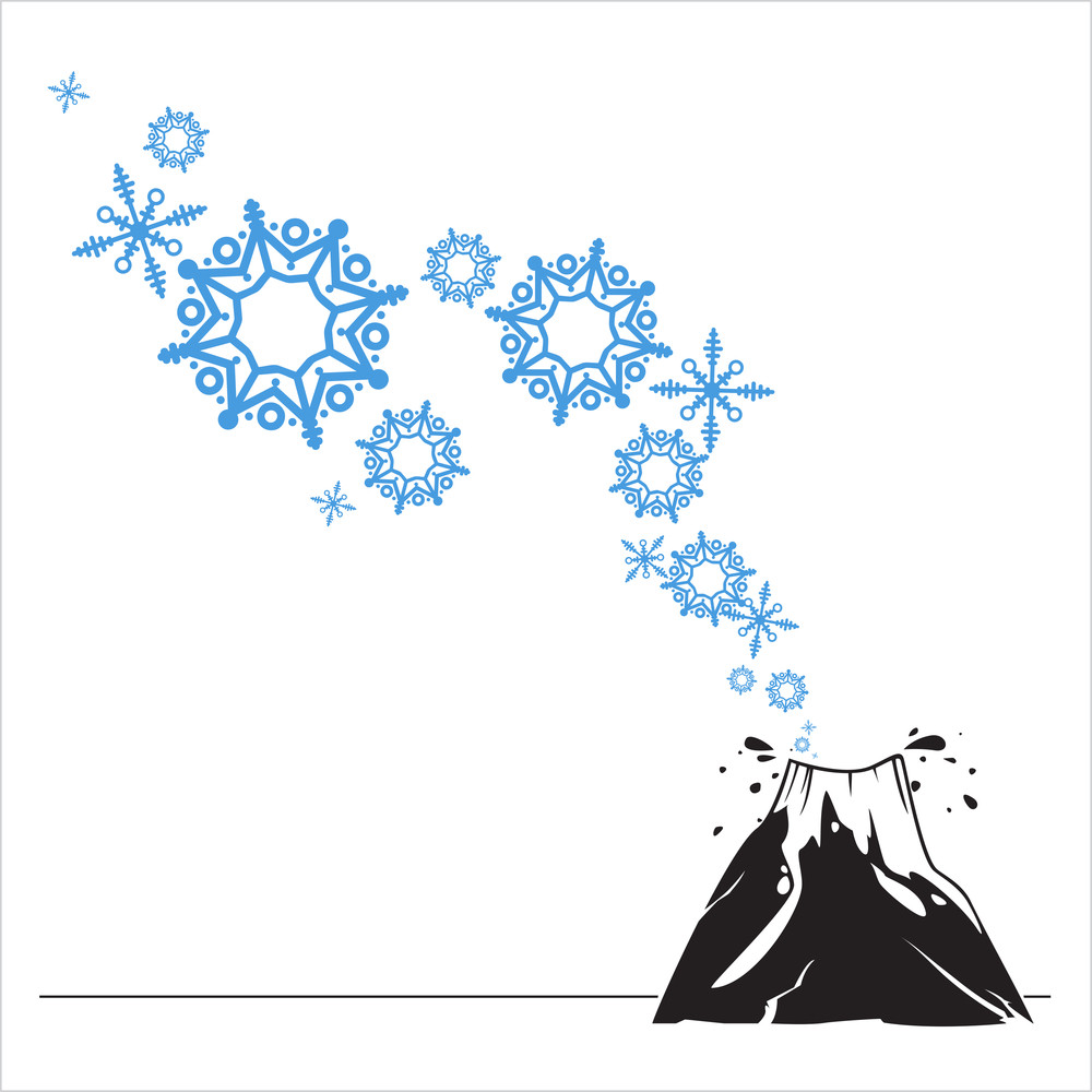 Abstract Vector Illustration Of Volkano  And Snowflakes.