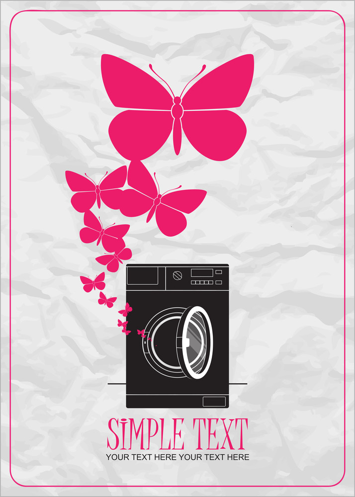 Abstract Vector Illustration Of Washing Machine And Butterflies.
