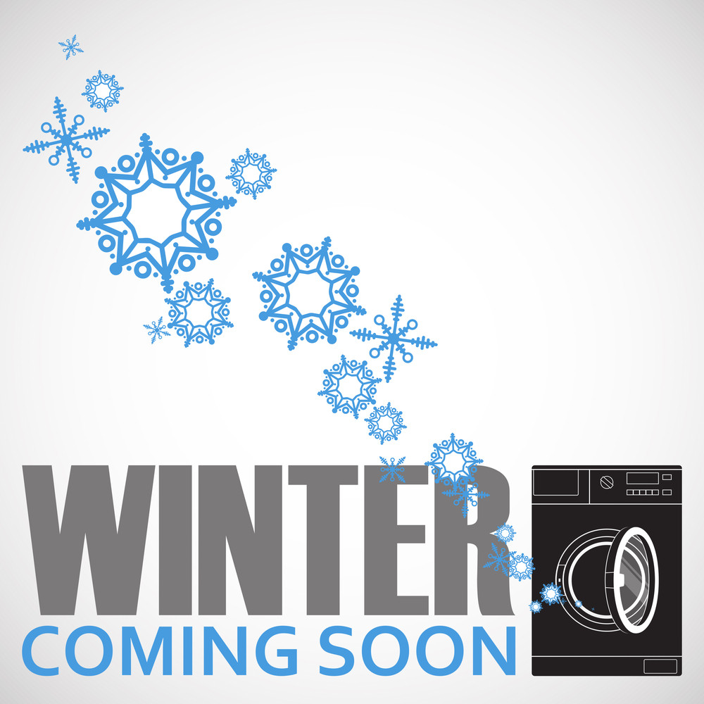 Abstract Vector Illustration Of Washing Machine And Snowflakes.
