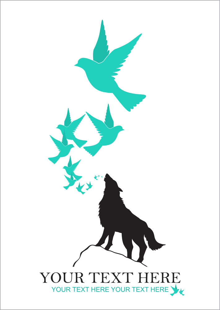 Abstract Vector Illustration Of Wolf And Birds.