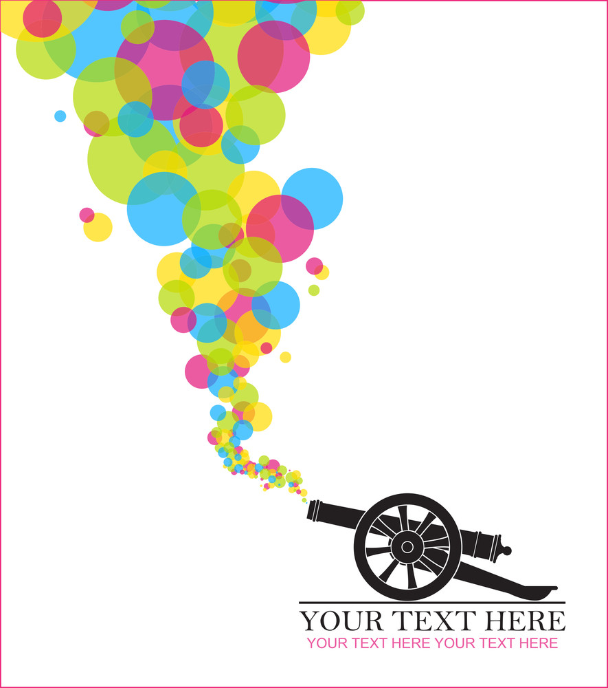 Abstract Vector Illustration With Ancient Artillery Gun And Balloons.