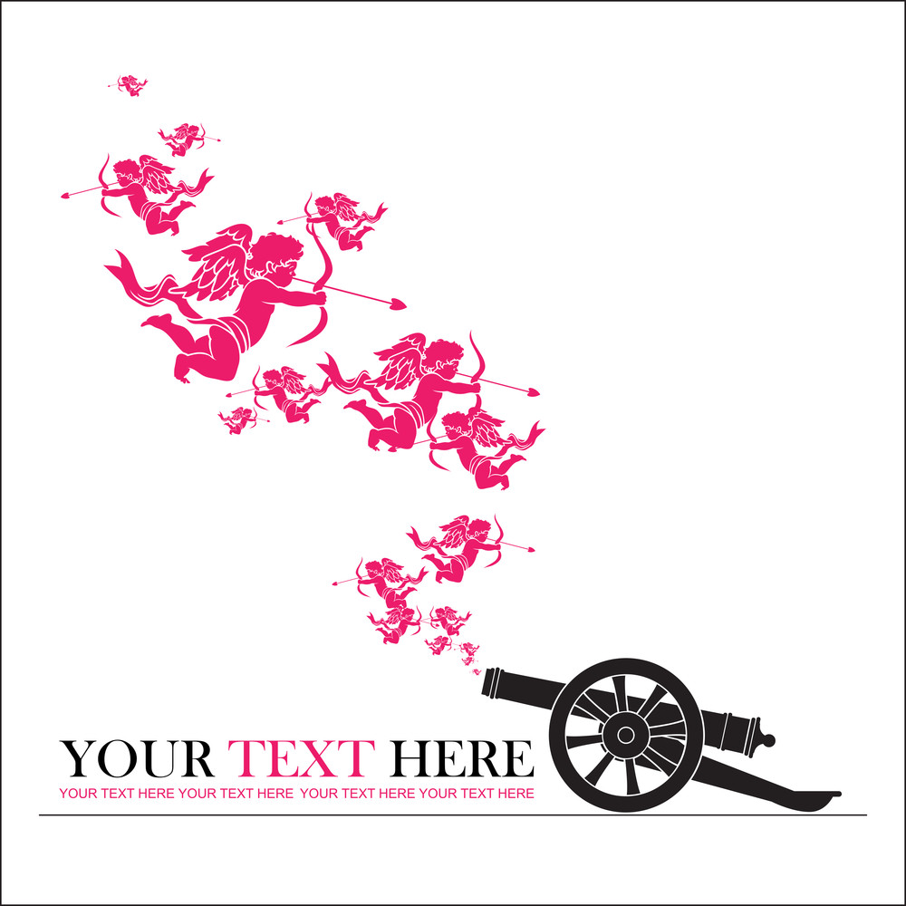 Abstract Vector Illustration With Ancient Artillery Gun And Cupids.