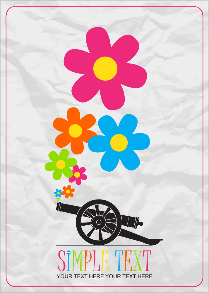 Abstract Vector Illustration With Ancient Artillery Gun And Flowers.
