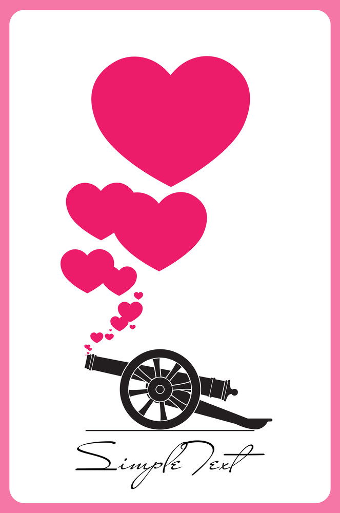 Abstract Vector Illustration With Ancient Artillery Gun And Hearts.