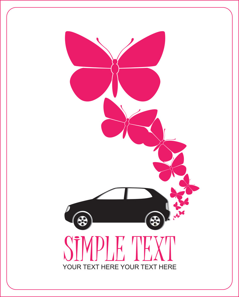 Abstract Vector Illustration With Car And Butterflies.