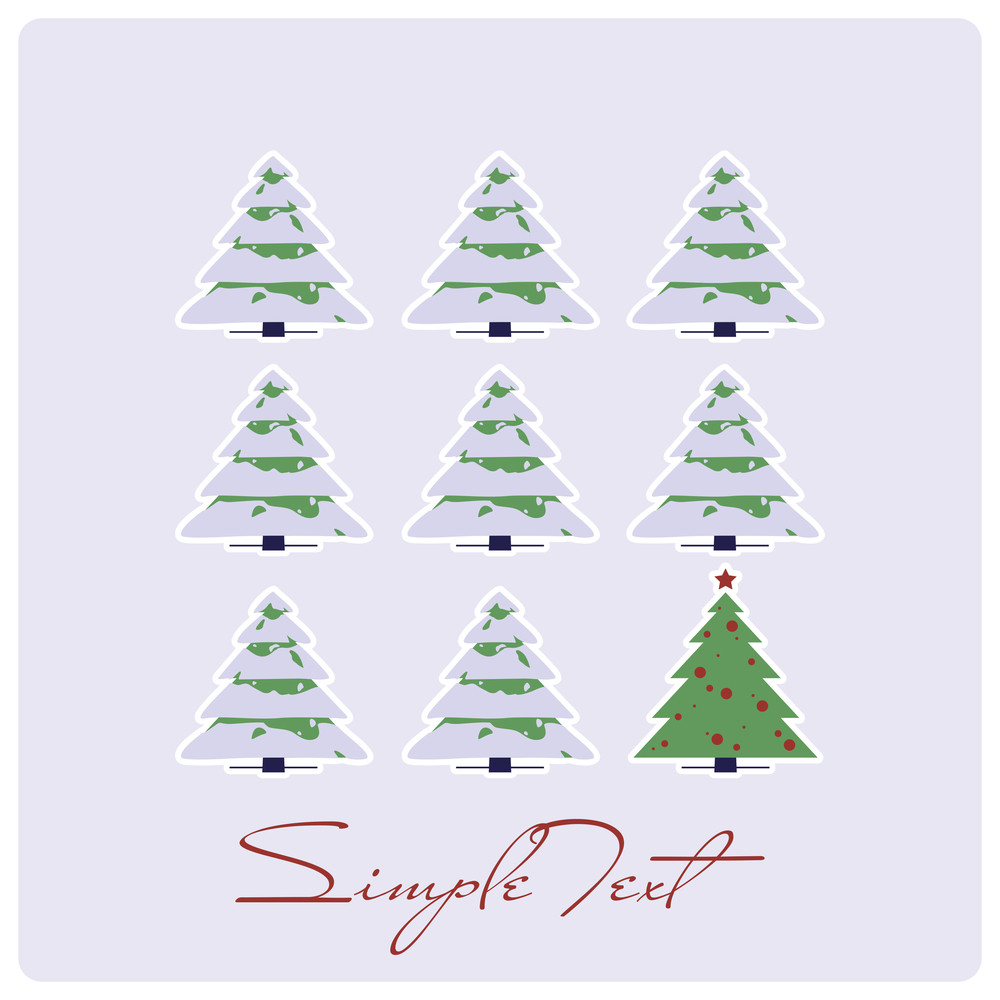Abstract Vector Illustration With Christmas-trees.