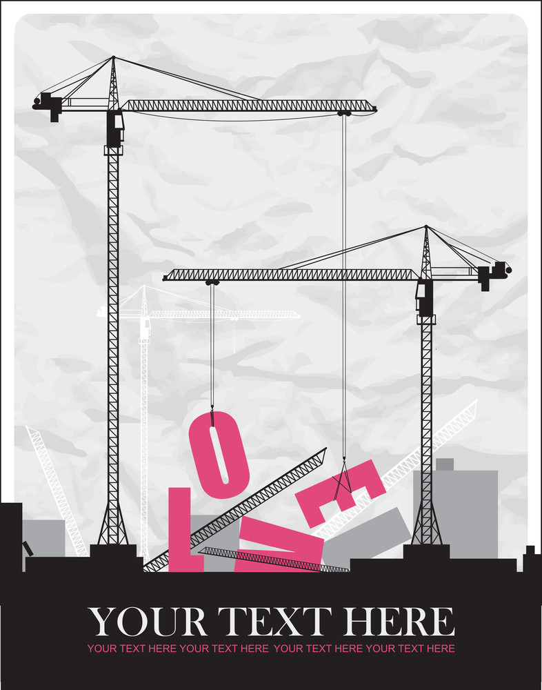 Abstract Vector Illustration With Cranes And Heart.