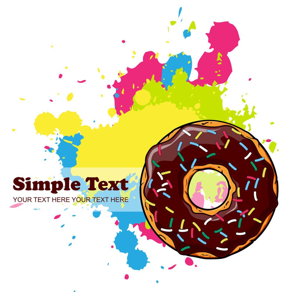Abstract Vector Illustration With Donut And Blots.