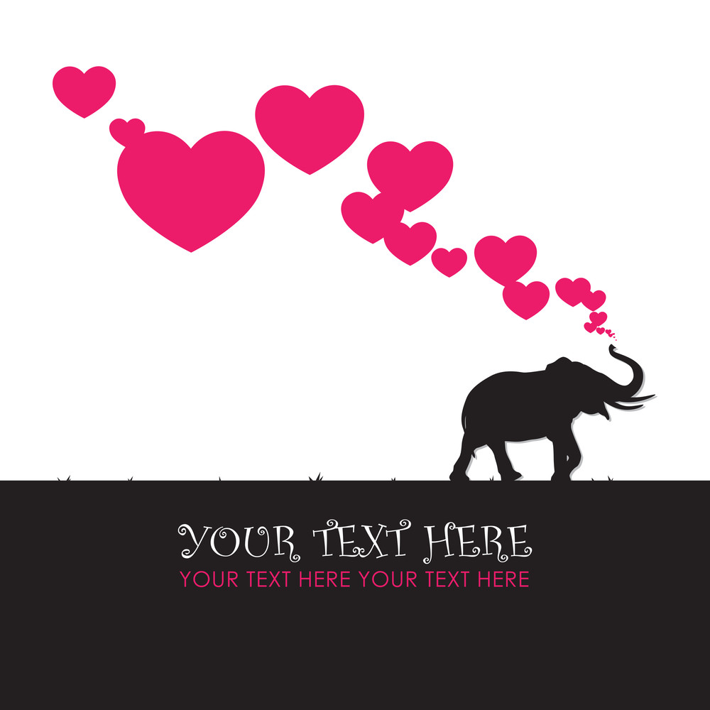 Abstract Vector Illustration With Elephant And Hearts.