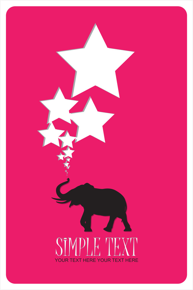 Abstract Vector Illustration With Elephant And Stars.