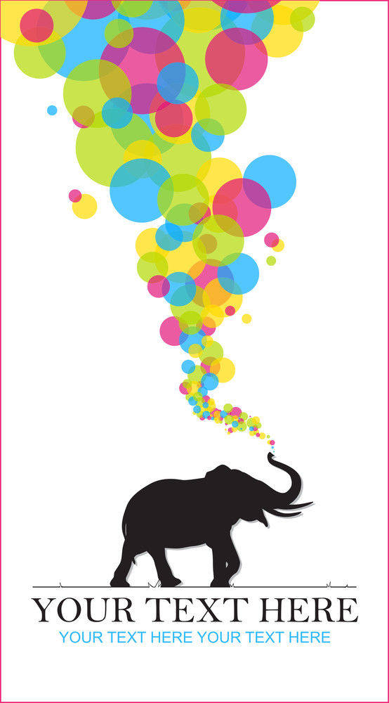 Abstract Vector Illustration With Elephant.