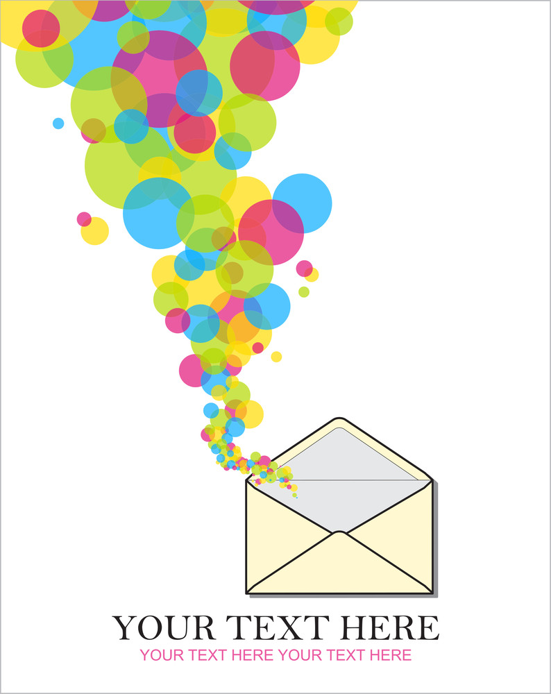 Abstract Vector Illustration With Envelope And Balloons.