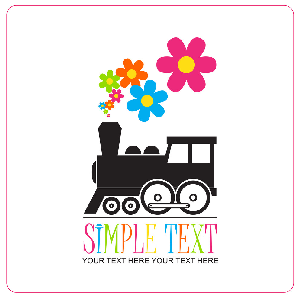 Abstract Vector Illustration With Locomotive And Flowers.