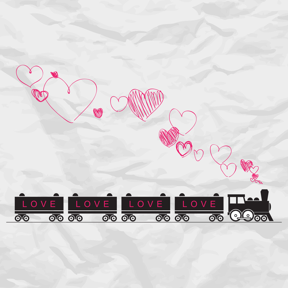Abstract Vector Illustration With Locomotive And Hearts On A Paper-background