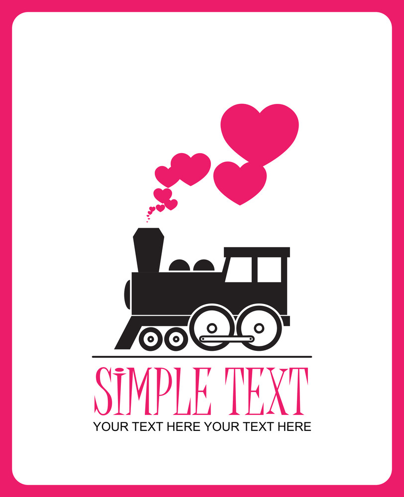 Abstract Vector Illustration With Locomotive And Hearts.