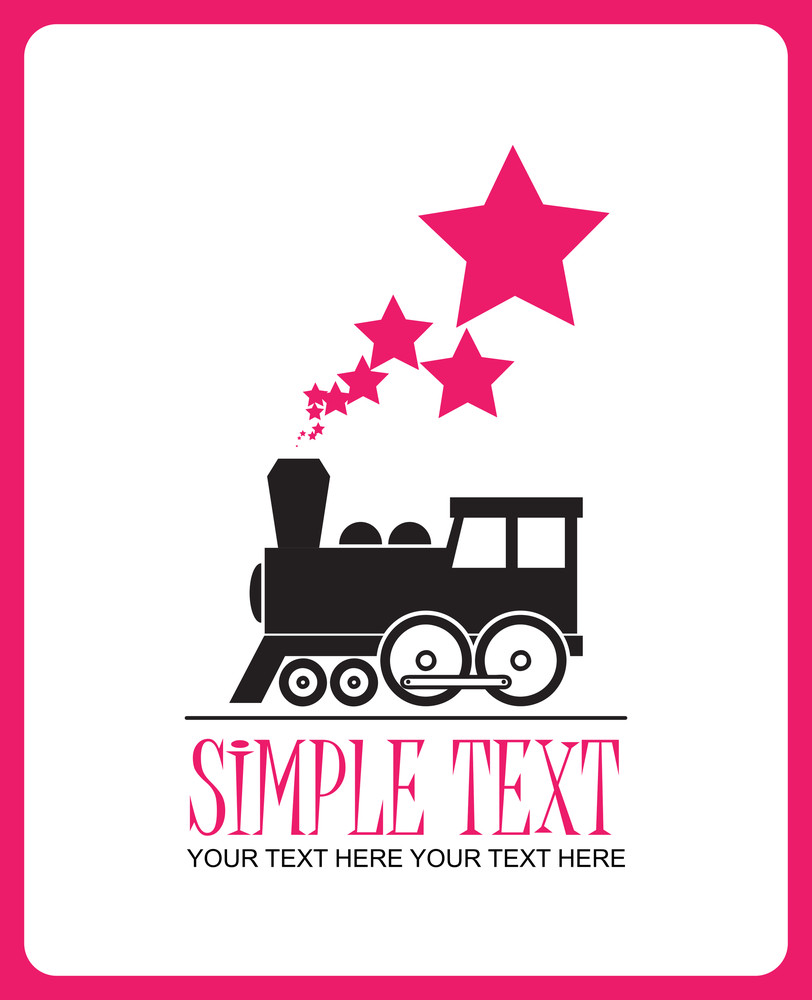 Abstract Vector Illustration With Locomotive And Stars.
