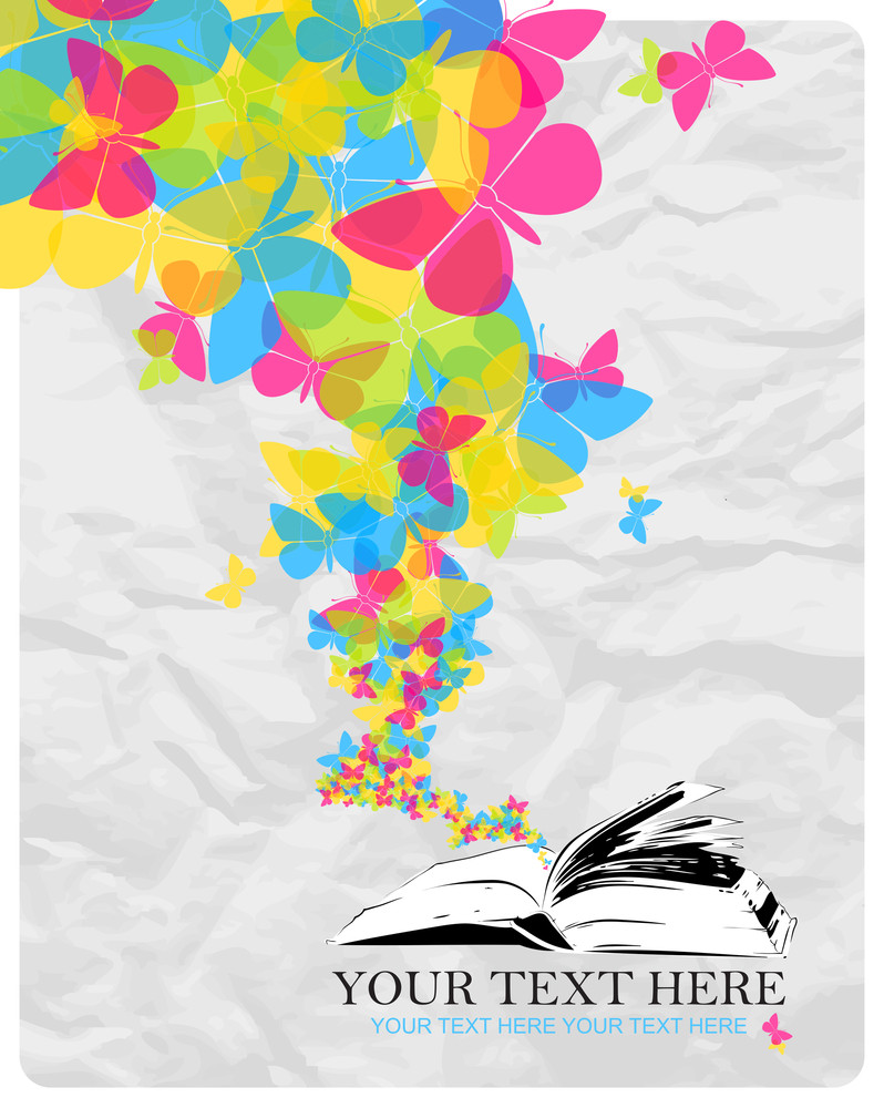 Abstract Vector Illustration With Opened Book And Butterflies.