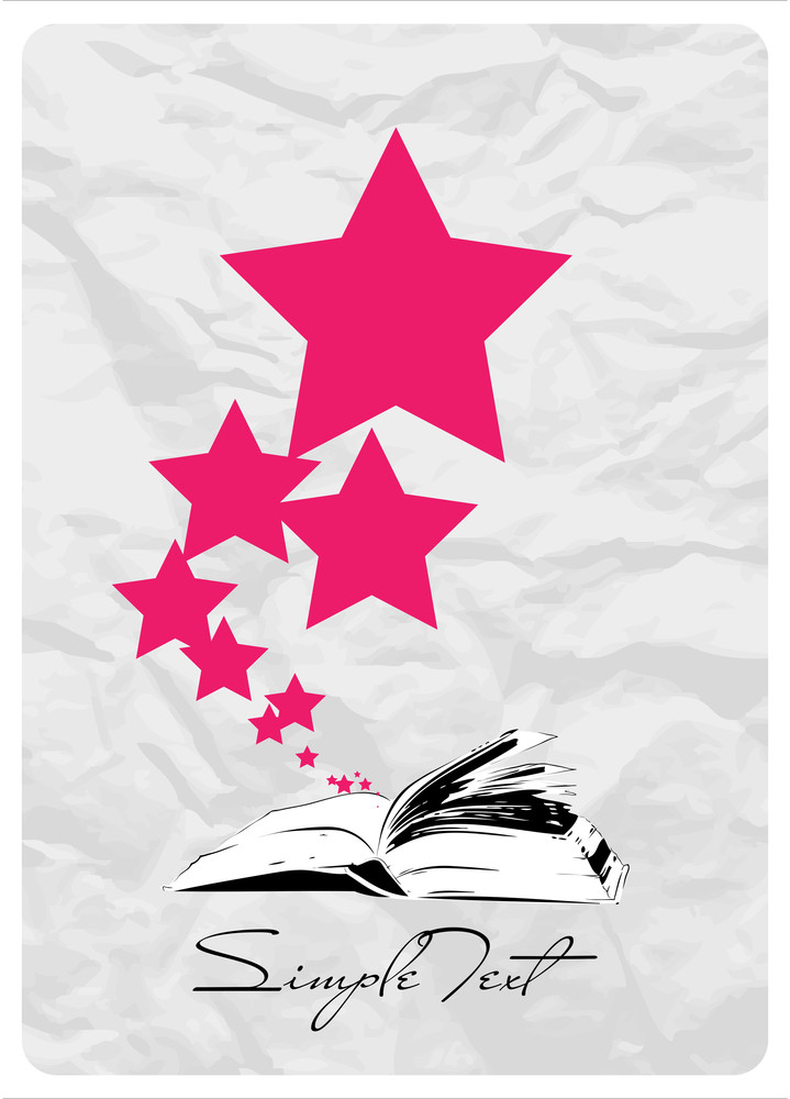 Abstract Vector Illustration With Opened Book And Stars.