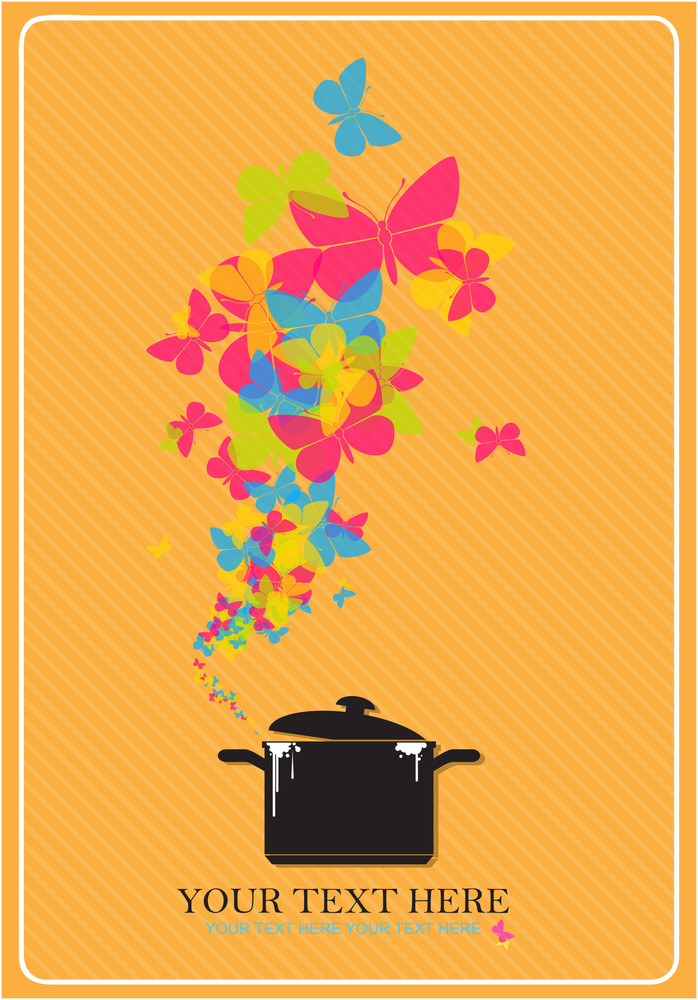 Abstract Vector Illustration With Pan And Butterflies.