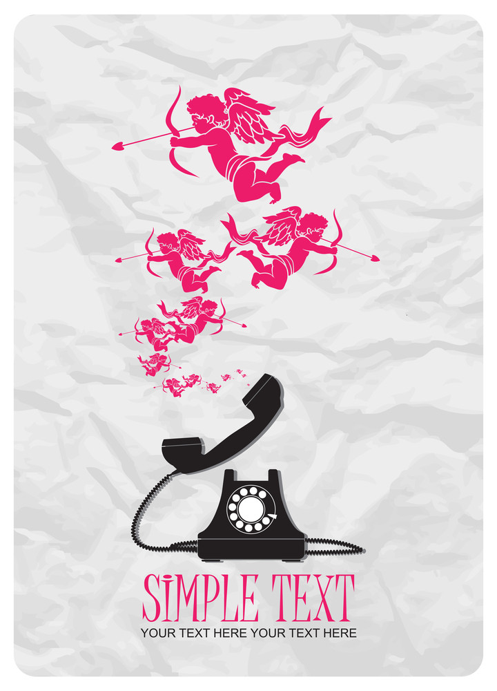 Abstract Vector Illustration With Retro Telephone And Amours.