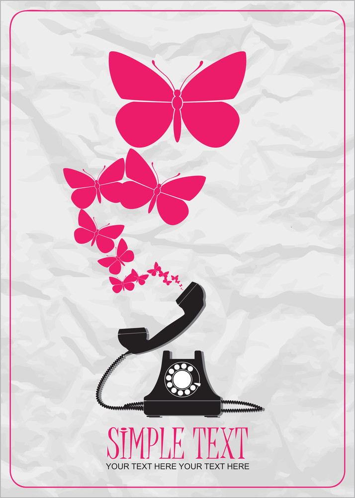 Abstract Vector Illustration With Retro Telephone And Butterflies.