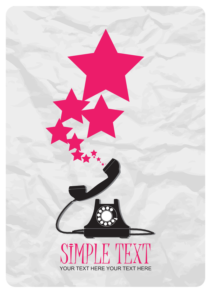 Abstract Vector Illustration With Retro Telephone And Stars.