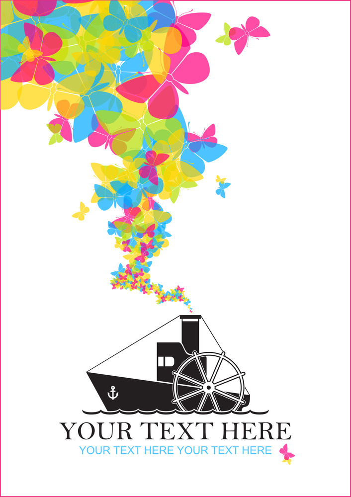 Abstract Vector Illustration With Steamship And Butterflies.