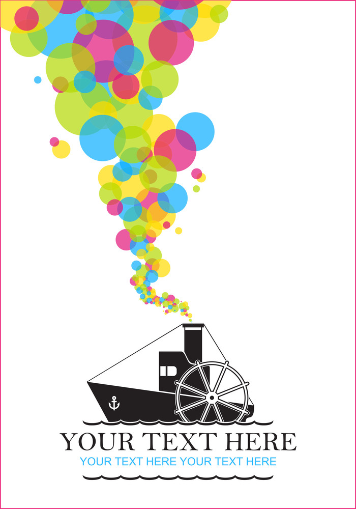 Abstract Vector Illustration With Steamship And Funny Smoke.