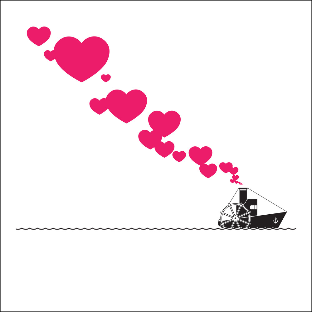 Abstract Vector Illustration With Steamship And Hearts.