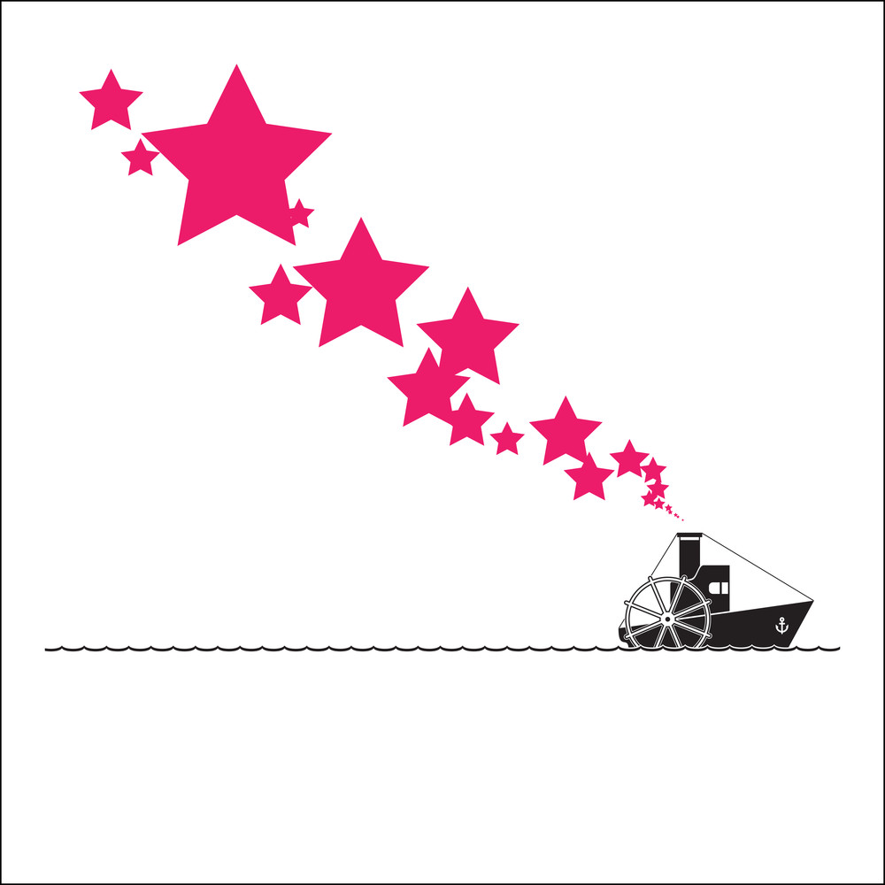 Abstract Vector Illustration With Steamship And Stars