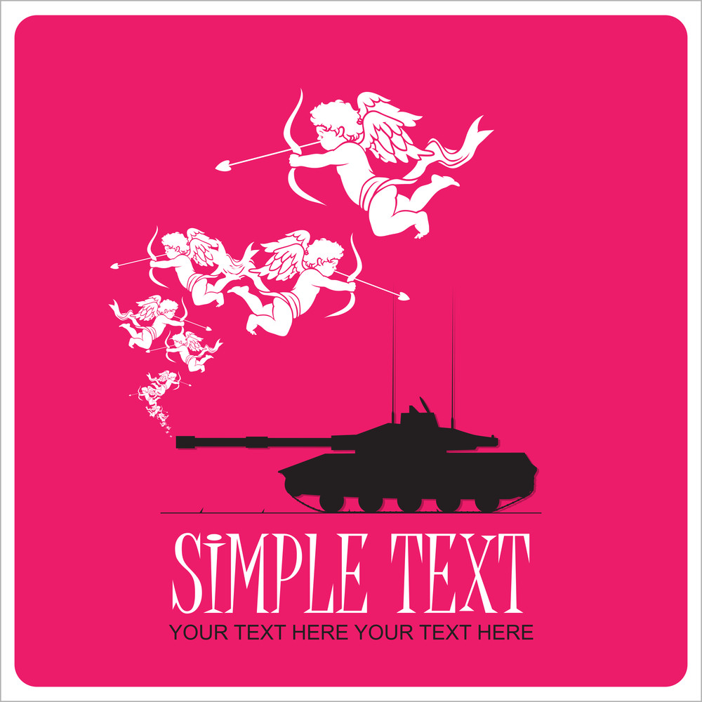 Abstract Vector Illustration With Tank And Cupids.