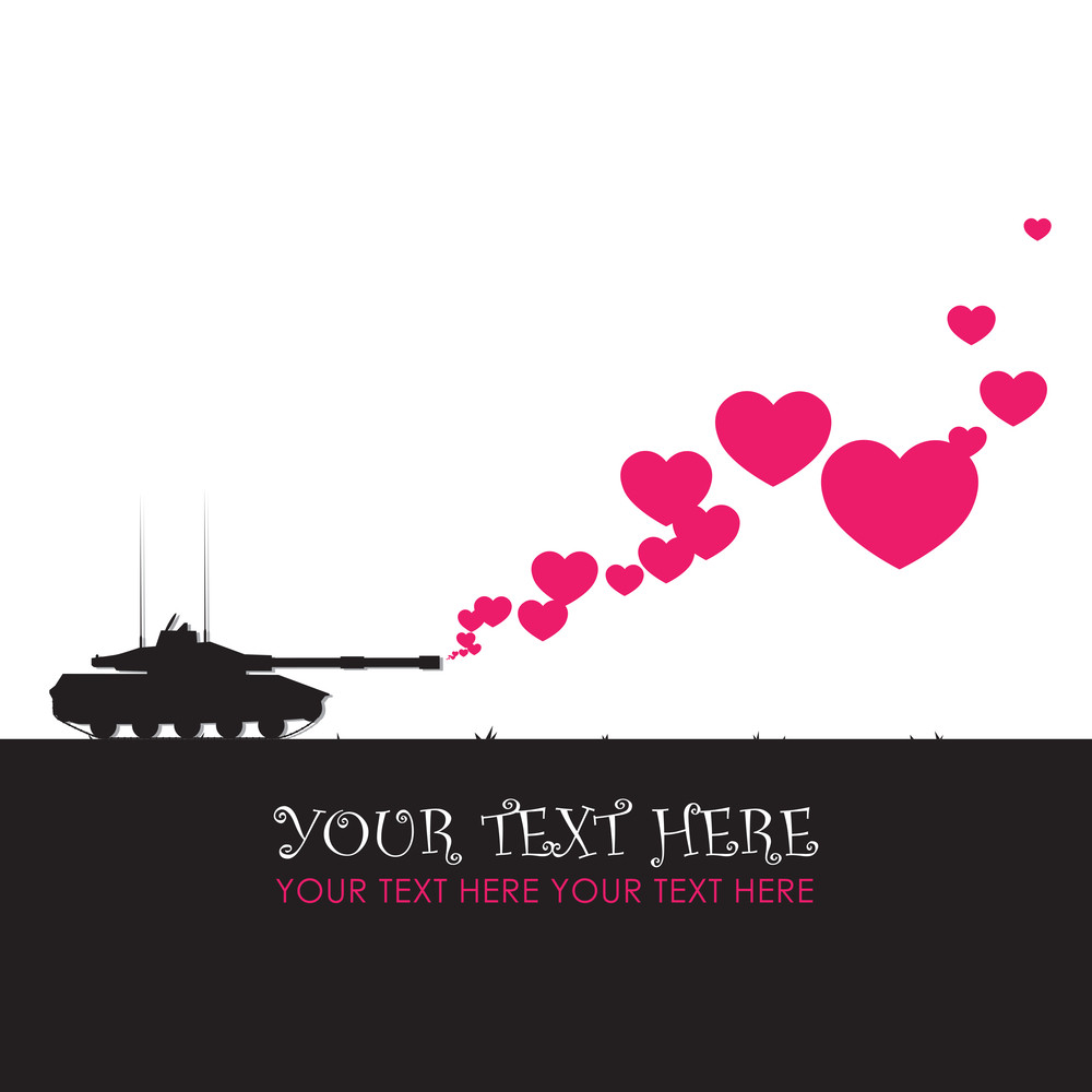 Abstract Vector Illustration With Tank And Hearts.