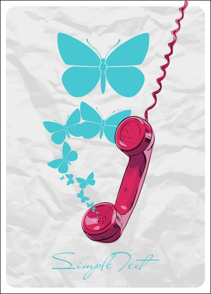 Abstract Vector Illustration With Telefonny Tube And Butterflies.