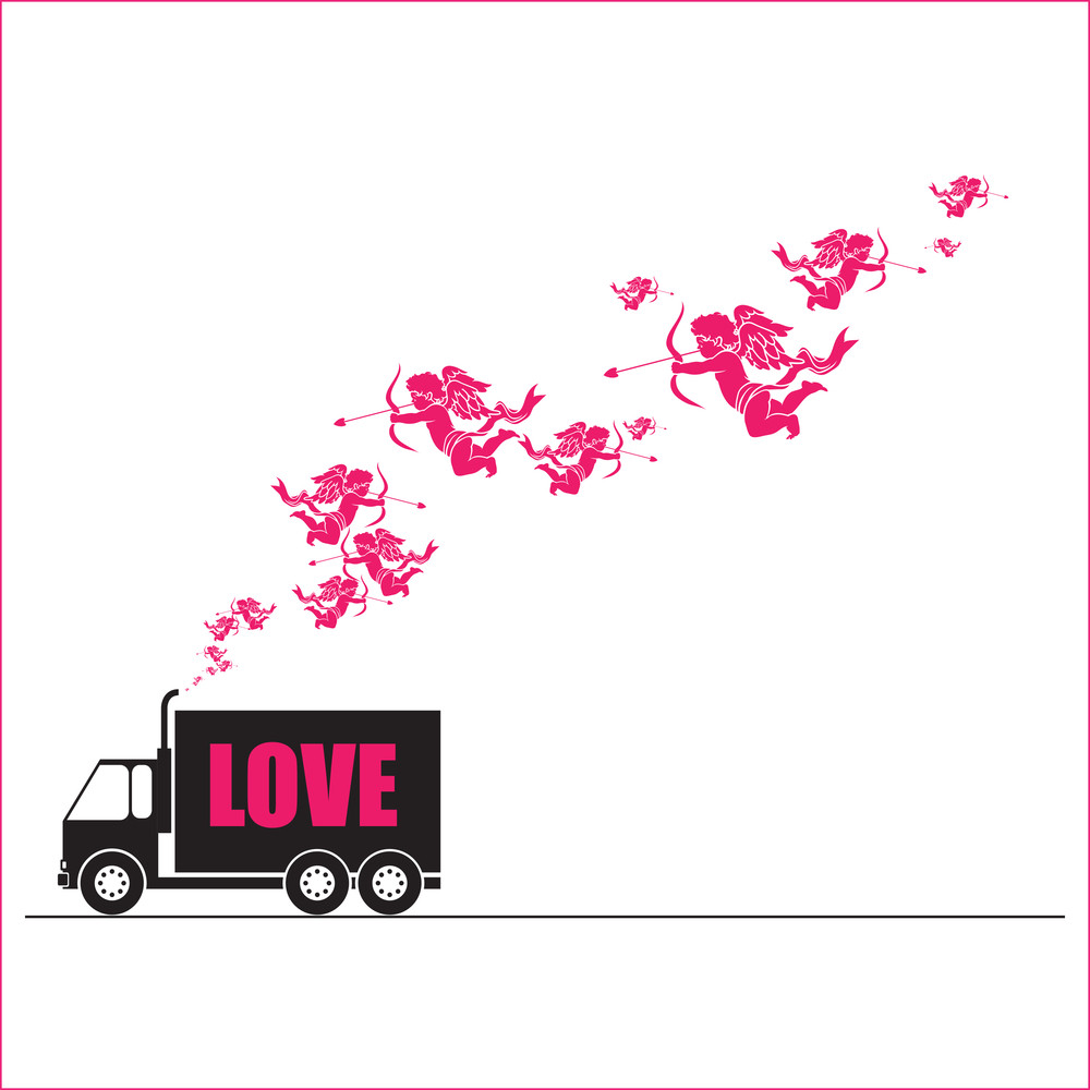 Abstract Vector Illustration With Track And Cupids.