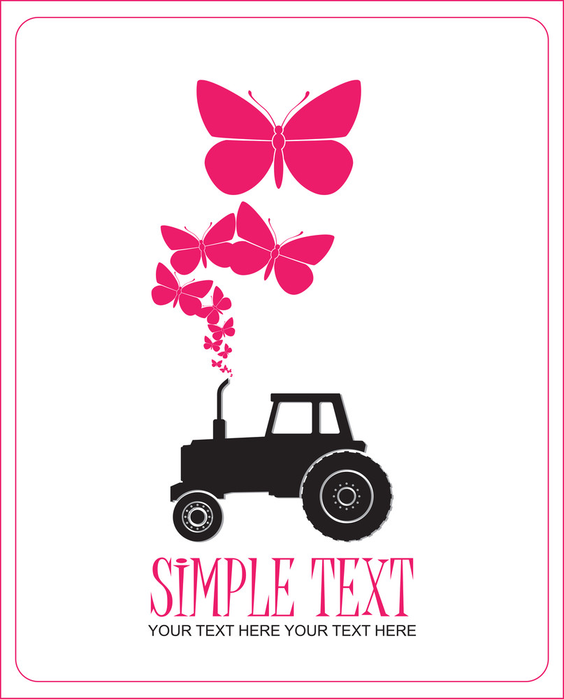 Abstract Vector Illustration With Tractor And Butterflies.