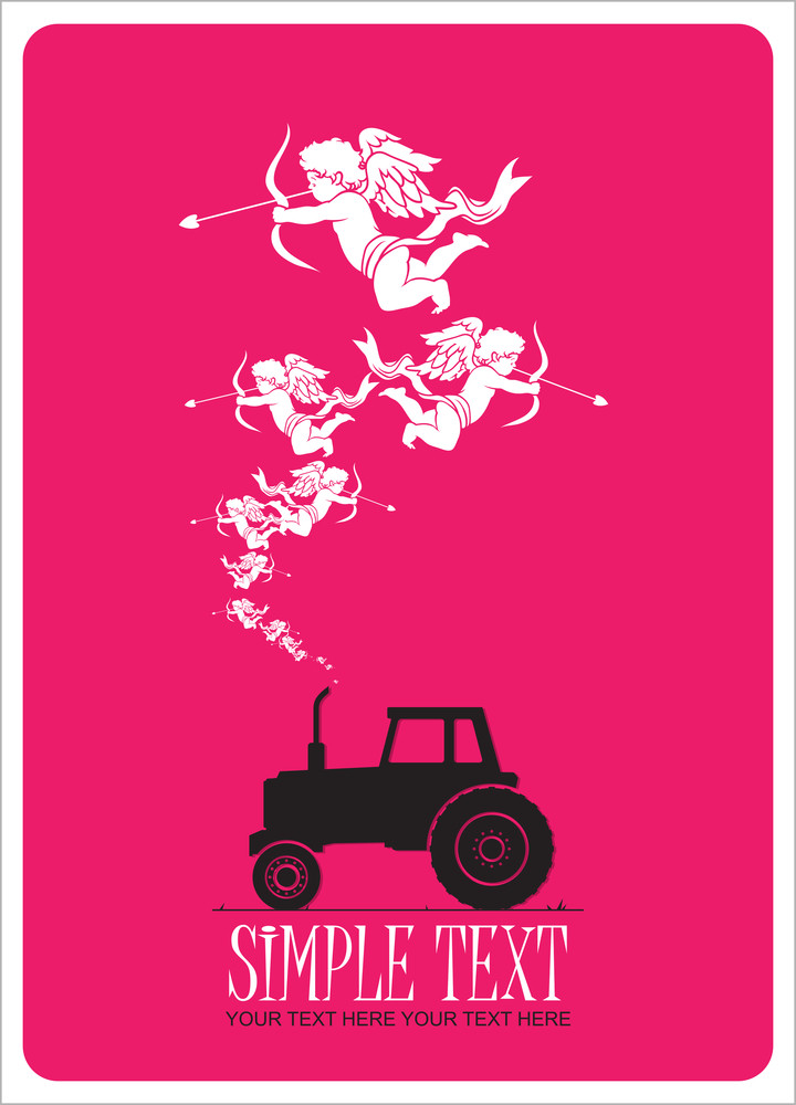 Abstract Vector Illustration With Tractor And Cupids. Vector Illustration.